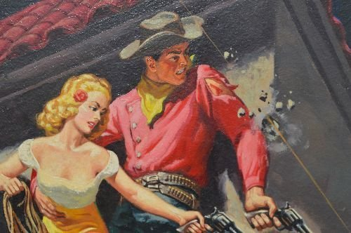 CLARENCE DOOER PULP ART WESTERN COWBOY COWGIRL PAINTING - 3