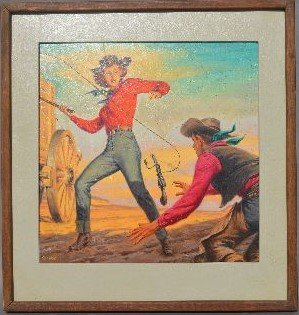 "CLARENCE DOOER OIL PAINTING OF ""WHIP SMART COWGIRL"""