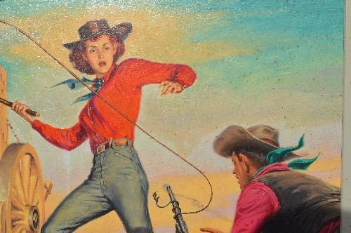 """CLARENCE DOOER OIL PAINTING OF """"WHIP SMART COWGIRL"""" - 3"""
