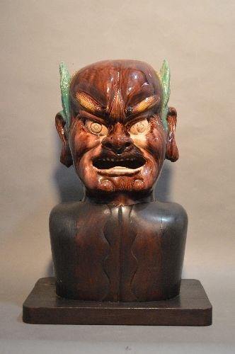 MING DYNASTY GLAZED POTTERY HEAD OF YAMA. CLEARLY