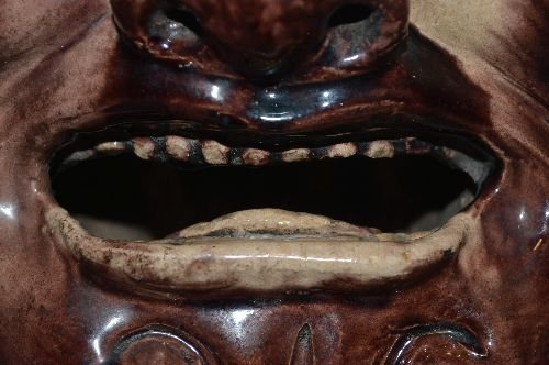 MING DYNASTY GLAZED POTTERY HEAD OF YAMA. CLEARLY - 5