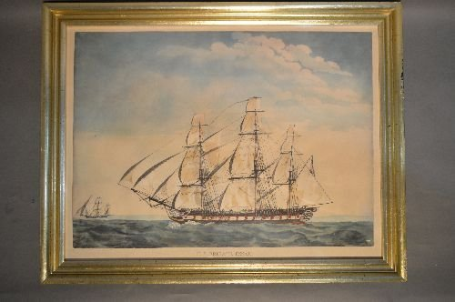 CURRIER AND IVES LARGE PRINT US FRIGATE ESSEX. MARKINGS