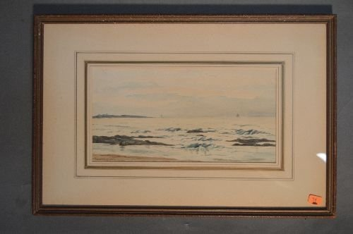 SIGNED WATERCOLOR CARROLL BUTLER BROWN SEASCAPE AND