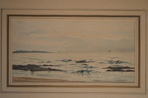 SIGNED WATERCOLOR CARROLL BUTLER BROWN SEASCAPE AND - 2