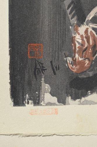 "10 JAPANESE WOODBLOCK PRINTS; 18"" x 14 1/2"" - 6"
