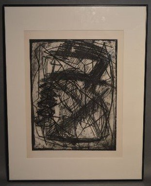 "ABSTRACT ETCHING BY LOUISE NEVELSON; 18"" x 13 1/2"""