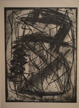 "ABSTRACT ETCHING BY LOUISE NEVELSON; 18"" x 13 1/2"" - 2"