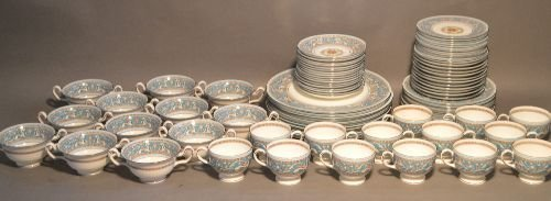 SERVICE FOR 12 WEDGWOOD TURQUOISE FLORENTINE CHINA (79
