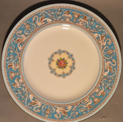 SERVICE FOR 12 WEDGWOOD TURQUOISE FLORENTINE CHINA (79 - 2