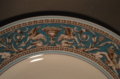 SERVICE FOR 12 WEDGWOOD TURQUOISE FLORENTINE CHINA (79 - 4