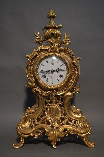 FRENCH DORE BRONZE ROCOCCO MANTLE CLOCK WITH ENAMELED