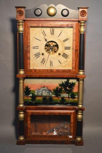19TH CENTURY 3 PART CASE CLOCK, BRASS WORKS MARKED B.M.