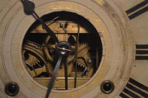 19TH CENTURY 3 PART CASE CLOCK, BRASS WORKS MARKED B.M. - 3