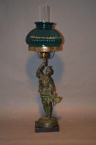 BRONZE FIGURAL LAMP OF VICTORIAN HUNTSMAN WITH GREEN
