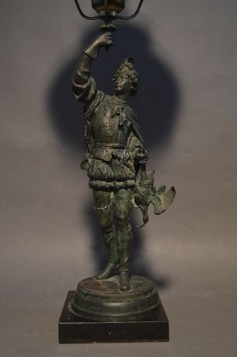 BRONZE FIGURAL LAMP OF VICTORIAN HUNTSMAN WITH GREEN - 2