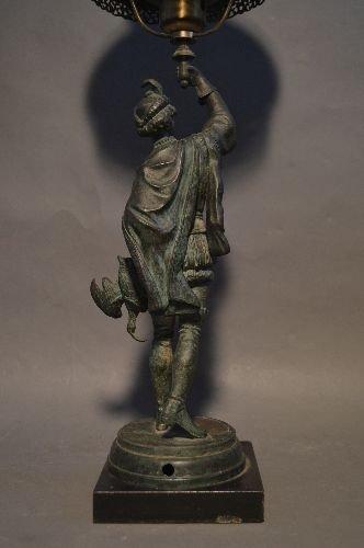 BRONZE FIGURAL LAMP OF VICTORIAN HUNTSMAN WITH GREEN - 3