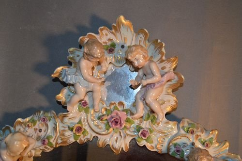LARGE PORCELAIN MIRROR FESTOONED WITH CHERUBS AND - 2
