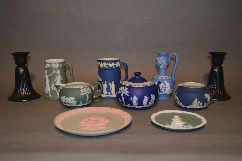 "10 PIECES OF MOSTLY WEDGWOOD JASPERWARE; 5 1/2"" AND"