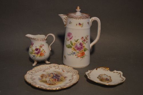 """4 PIECES EARLY DRESDEN PORCELAIN; 7 1/2"""" AND SMALLER"""