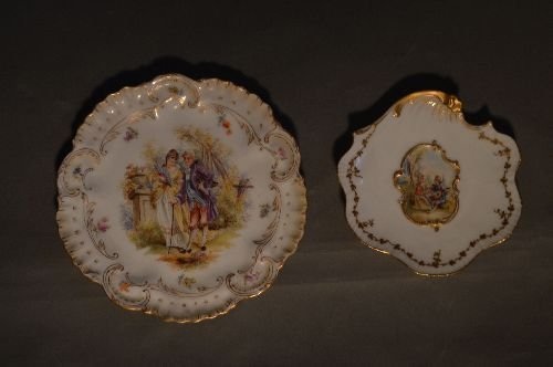 """4 PIECES EARLY DRESDEN PORCELAIN; 7 1/2"""" AND SMALLER - 2"""
