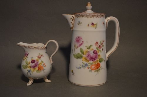 """4 PIECES EARLY DRESDEN PORCELAIN; 7 1/2"""" AND SMALLER - 6"""