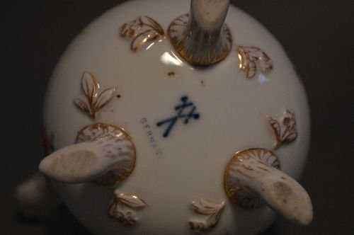 """4 PIECES EARLY DRESDEN PORCELAIN; 7 1/2"""" AND SMALLER - 9"""