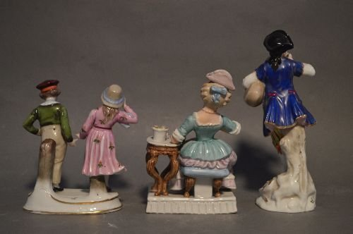 "3 19TH CENTURY GERMAN FIGURAL GROUPS; 7 1/2"" AND - 2"