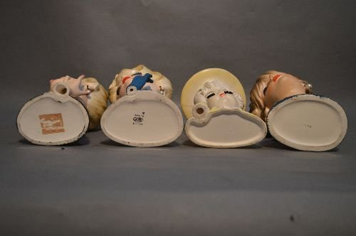 4 VINTAGE PORCELAIN HEAD VASES, WITH PEARL EARRINGS AND - 3
