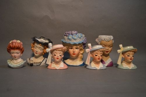 "7 VINTAGE PORCELAIN HEAD VASES; 7"" AND SMALLER"