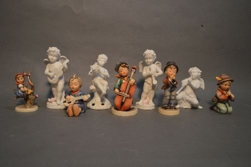 "5 HUMMEL'S AND 4 PORCELAIN ANGELS; 6"" AND SMALLER"