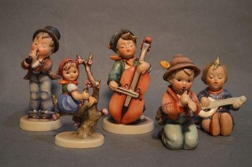 "5 HUMMEL'S AND 4 PORCELAIN ANGELS; 6"" AND SMALLER - 4"