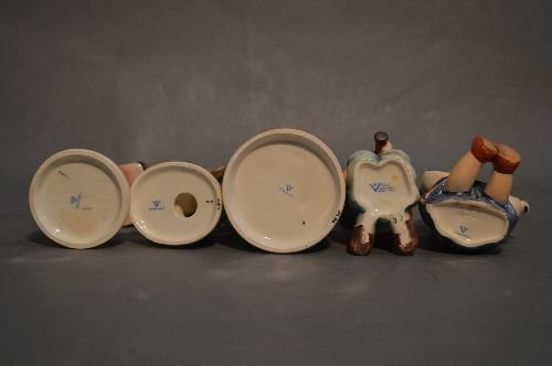 "5 HUMMEL'S AND 4 PORCELAIN ANGELS; 6"" AND SMALLER - 5"