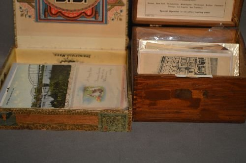 3 CIGAR BOXES OF VINTAGE POSTCARDS, CHRISTMAS, - 3