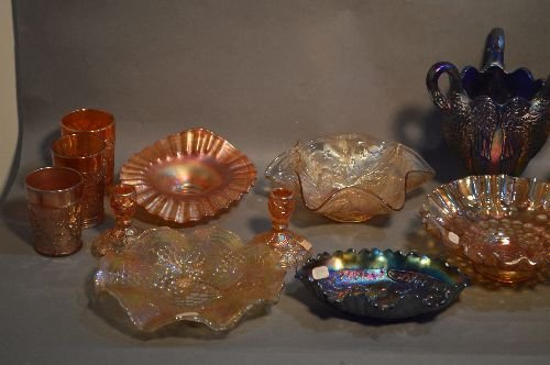 16 PIECES VINTAGE CARNIVAL GLASS, VARIOUS SIZES, - 2