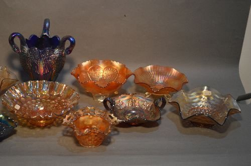 16 PIECES VINTAGE CARNIVAL GLASS, VARIOUS SIZES, - 3