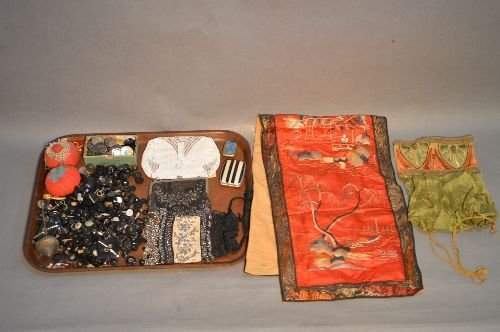 ANTIQUE BEADED PURSES, CHINESE NEEDLE POINT PANEL, LOT