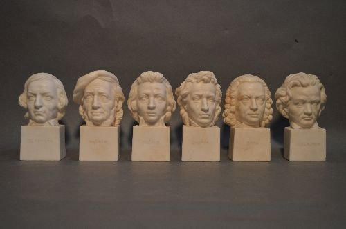 6 ANTIQUE CARVED ITALIAN MARBLE BUSTS OF COMPOSERS