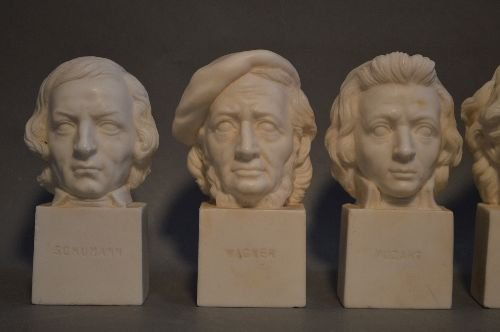 6 ANTIQUE CARVED ITALIAN MARBLE BUSTS OF COMPOSERS - 2