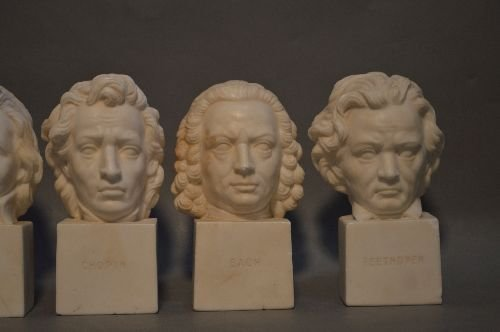 6 ANTIQUE CARVED ITALIAN MARBLE BUSTS OF COMPOSERS - 3