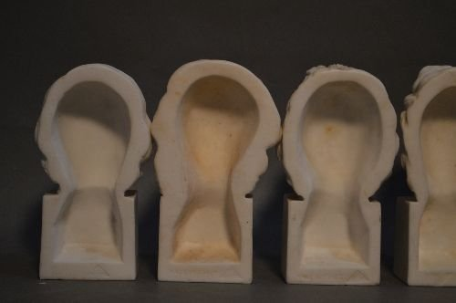 6 ANTIQUE CARVED ITALIAN MARBLE BUSTS OF COMPOSERS - 4