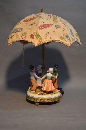 "MEISSEN RING AROUND THE ROSIE PORCELAIN LAMP.17"" TALL"