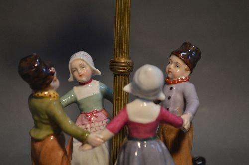 "MEISSEN RING AROUND THE ROSIE PORCELAIN LAMP.17"" TALL - 3"