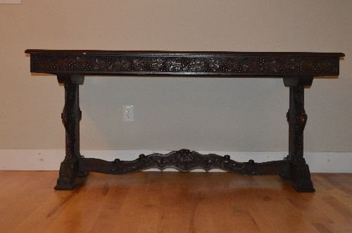 CARVED BLACK FOREST VICTORIAN TUCK DINING TABLE