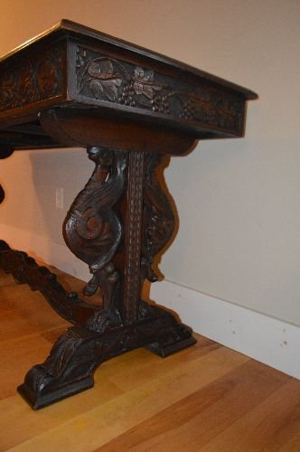CARVED BLACK FOREST VICTORIAN TUCK DINING TABLE - 3