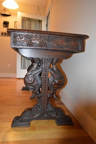 CARVED BLACK FOREST VICTORIAN TUCK DINING TABLE - 4