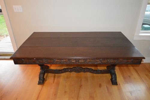 CARVED BLACK FOREST VICTORIAN TUCK DINING TABLE - 7