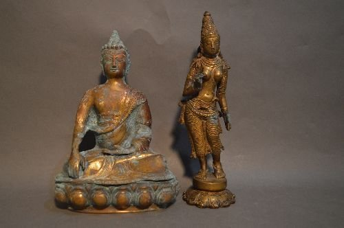 A THAI BRONZE STANDING FIGURE AND SEATED BUDDHA
