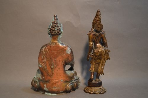 A THAI BRONZE STANDING FIGURE AND SEATED BUDDHA - 2