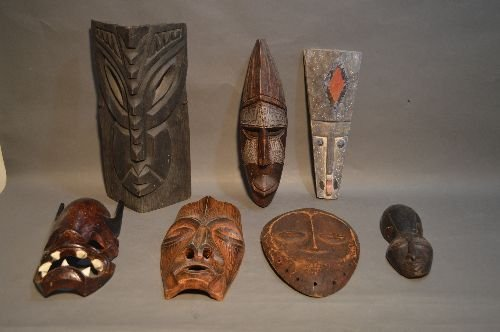 CARVED AFRICAN MASK GROUPING