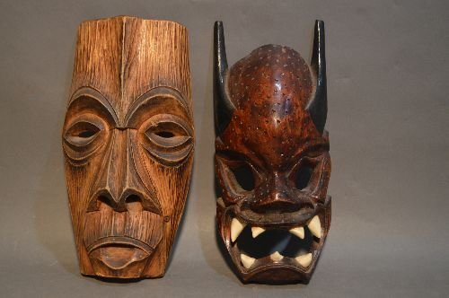 CARVED AFRICAN MASK GROUPING - 4